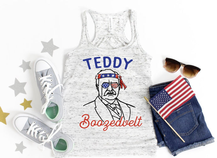 Teddy Boozedvelt / Patriotic ladies tank top / American flag/ Fourth of July