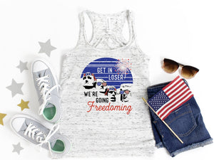 We're Going Freedoming / Patriotic ladies tank top / American flag/ Fourth of July