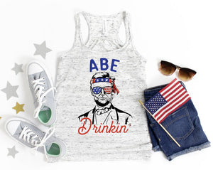 Abe Drinkin' / Patriotic ladies tank top / American flag/ Fourth of July