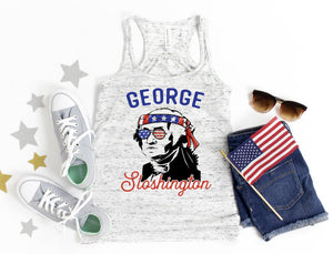 George Sloshington / Patriotic ladies tank top / American flag/ Fourth of July