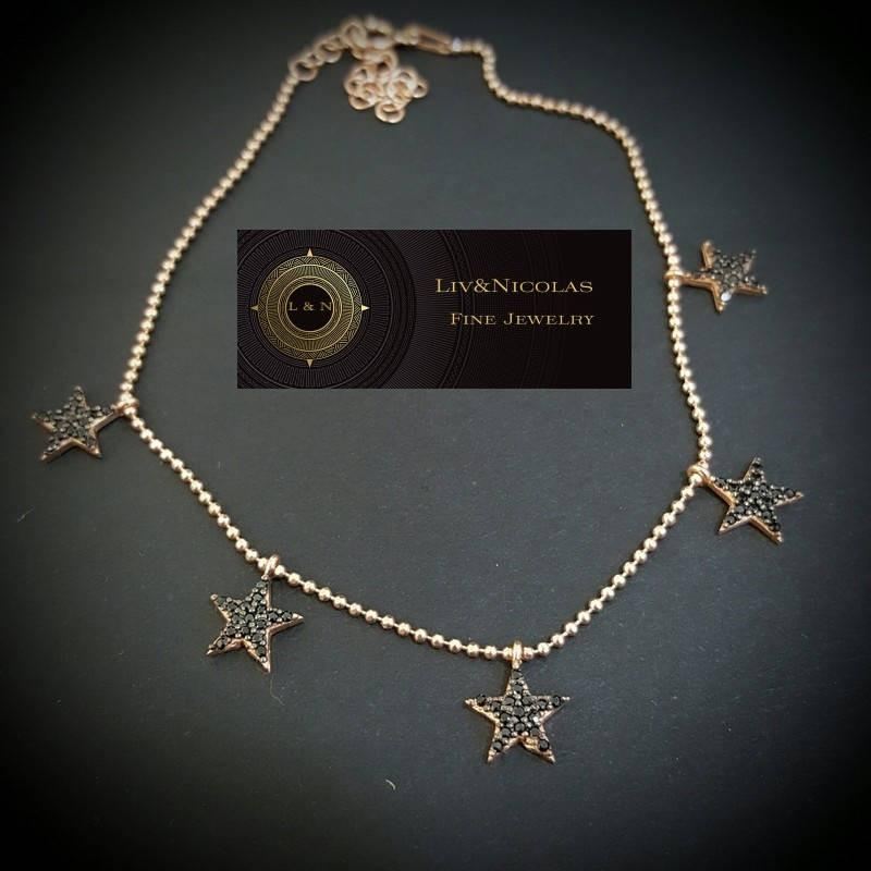 Gold Dangle Zirconia Star Body Chain Anklet over Genuine 925 Sterling Silver