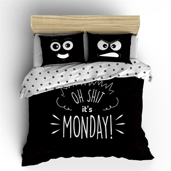 Posteljnina z napisom IT`S MONDAY