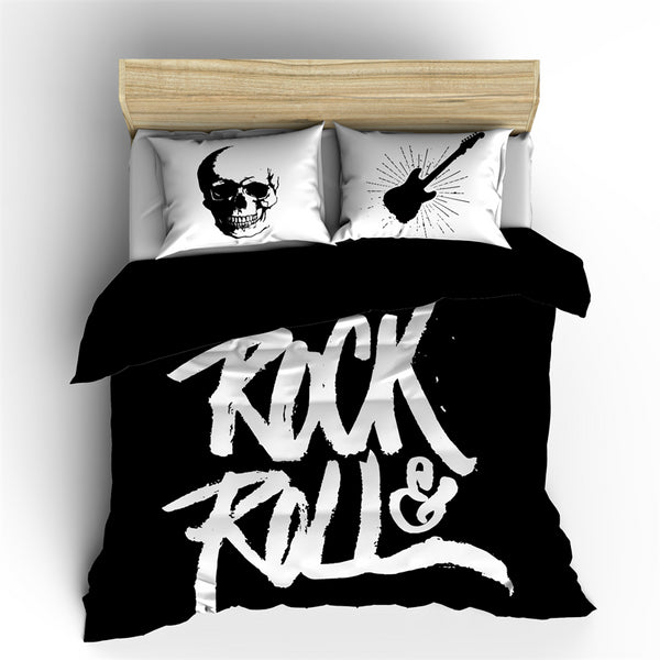 Posteljnina ROCK & ROLL BLACK