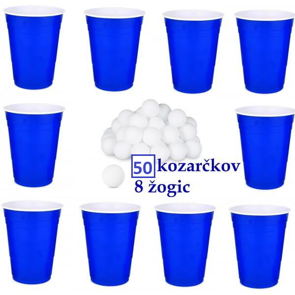 Beer pong set z žogicami - Modra