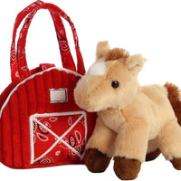 "7"" Red Barn with horse purse"