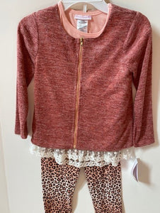 coral top with coral cheetah pants and coral jacket