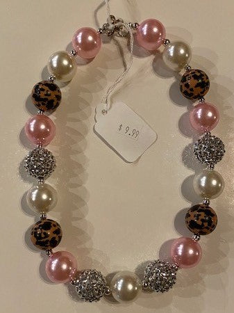 PINK, LEOPARD & WHITE NECKLACE