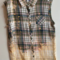 GREEN AND GOLD SLEEVELESS PLAID SHIRT WITH DADDY'S ANGEL ON BACK