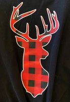 BLACK SHIRT WITH CHECKERED DEER AND JEANS
