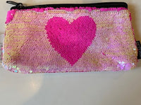MAGIC SEQUIN HOT PINK/LIGHT PINK WITH HEART PENCIL CASE/CLUTCH