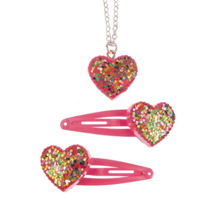 SPARKLE MY HEART SNAP CLIPS AND NECKLACE
