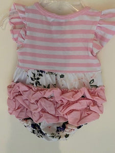 PINK STRIPE TOP ONESIE WITH RUFFLE BOTTOM