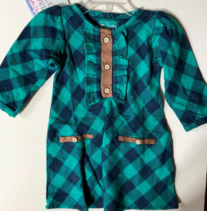 RUFFLE BUTTS Navy & Emerald Plaid A-Line Dress