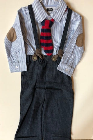 MUD PIE STRIPED SHIRT AND TIE PANT SET