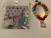 WHITE LLAMA NECKLACE AND BRACELET