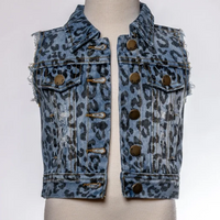 BLUE DENIM LEOPARD VEST