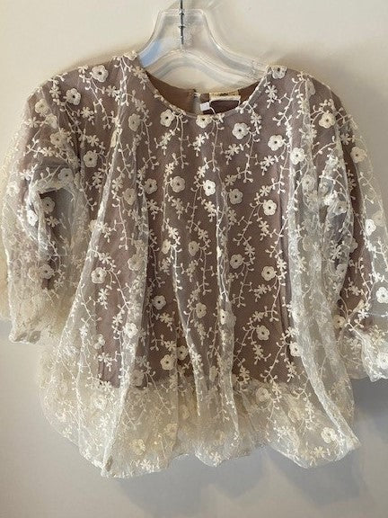 TAUPE TOP WITH FLORAL OVERLAY
