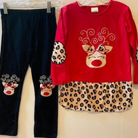 RED TOP WITH REINDEER AND LEOPARD TRIM ON BOTTOM