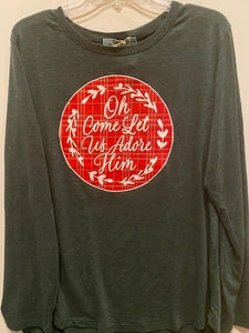 Oh Come Let Us Adore Him Patch on Evergreen Longsleeve Tee - ADULT