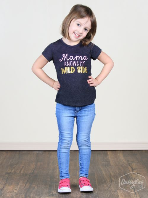 Little Girls' Mama Knows My Wild Side Charcoal Tee