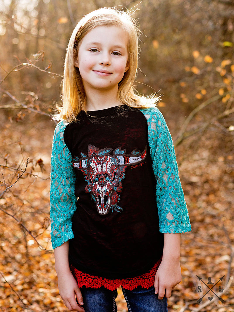 Girls Bull Skull on Black Burnout with Turquoise Lace Sleeves