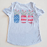 Girls Sweet Tea Party Powder Blue Cold Shoulder Tee with Patriotic Mason Jars