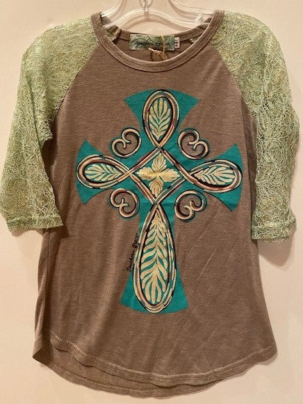 TAN SHIRT WITH TEAL CROSS