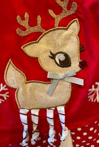 REINDEER WITH STRIPED LEGS AND POLKA DOT PANTS