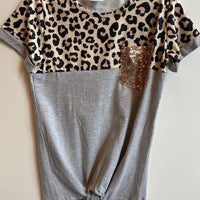 LEOPARD TOP WITH GREY BOTTOM AND GOLD POCKET