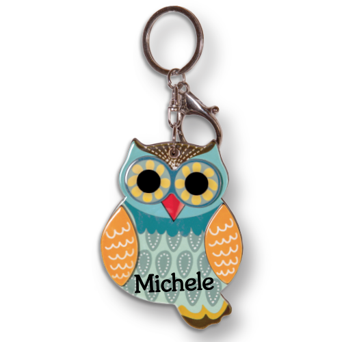 HOO'S BEAUTIFUL OWL MIRROR PERSONALIZED KEYCHAINS