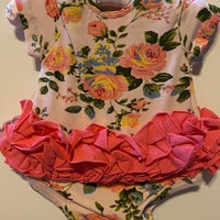 PEACH FLORAL ONESIE WITH RUFFLE
