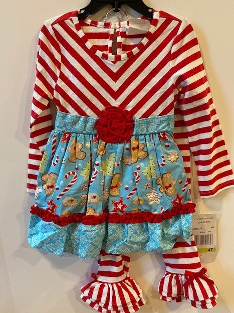 GINGERBREAD DRESS - RED STRIPED TOP