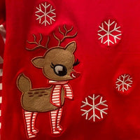 RED TOP WITH REINDEER WITH STRIPED RED AND WHITE PANTS
