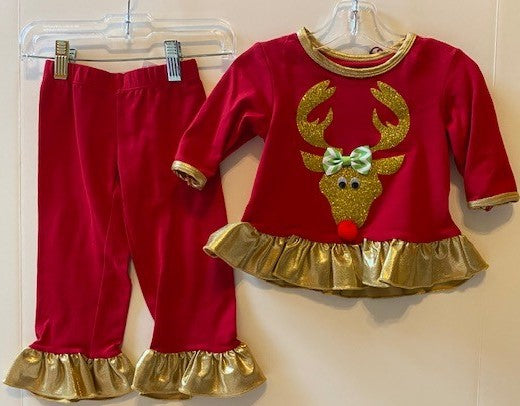 Red 2 Piece with Gold Reindeer