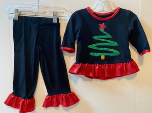 Black 2 piece outfit with tree