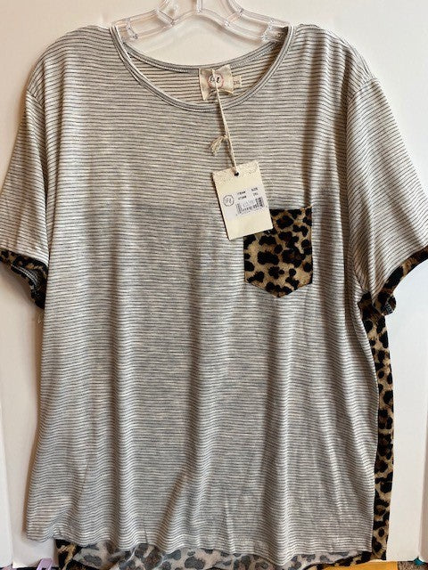 STRIPE SHIRT WITH LEOPARD POCKET
