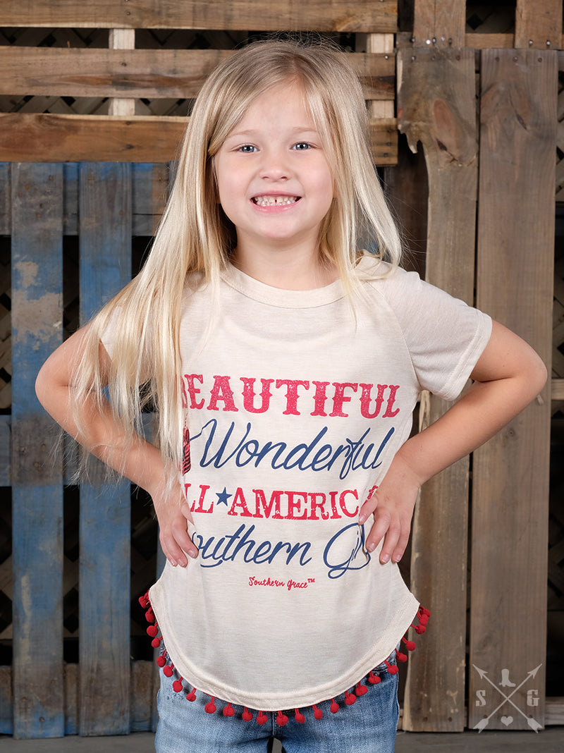 Girls Beautiful, Wonderful, All-American Southern Girl on Ivory Short Sleeve T-Shirt with Red Poms