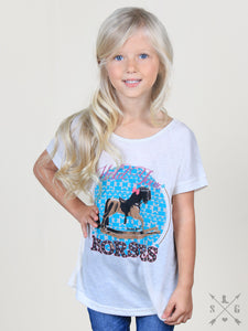 Girls' Hold Your Horses Beige Tee with Pink Lace Bow Back Accent