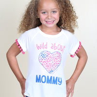 Girls' Wild About Mommy Rainbow Heart Pom Tee