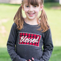 Girls' Blessed Buffalo Plaid Patch on Charcoal Longsleeve Tee