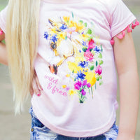 Girls' Wild & Free Unicorn Tee with Pom Trim
