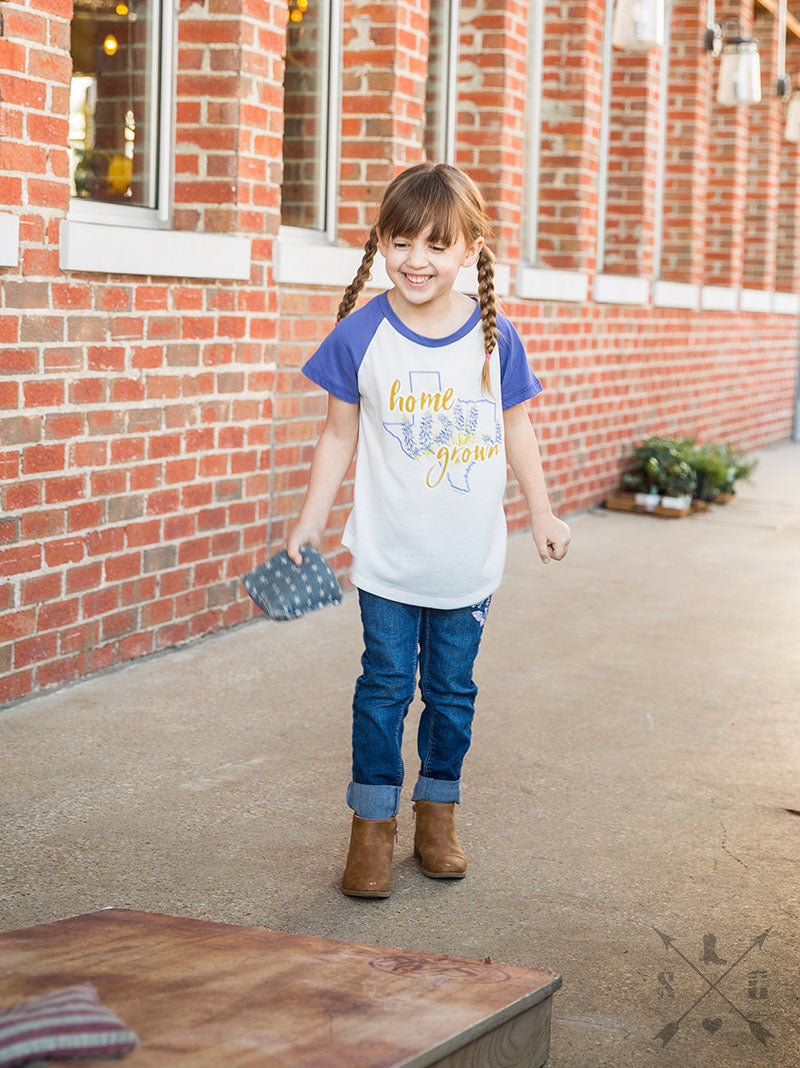 Girls' Home Grown Texas with Bluebonnets on Shortsleeve Tee