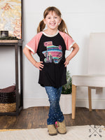 Girls' Just Like Heaven Desert Serape Texas on Black Tee with Pink Sleeve Accent