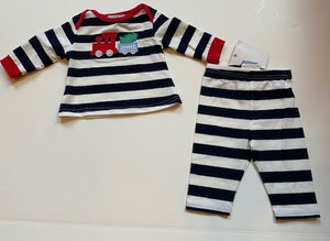 Boys Blue & White striped outfit