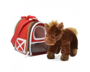 "8"" Brown Horse In Carrier"