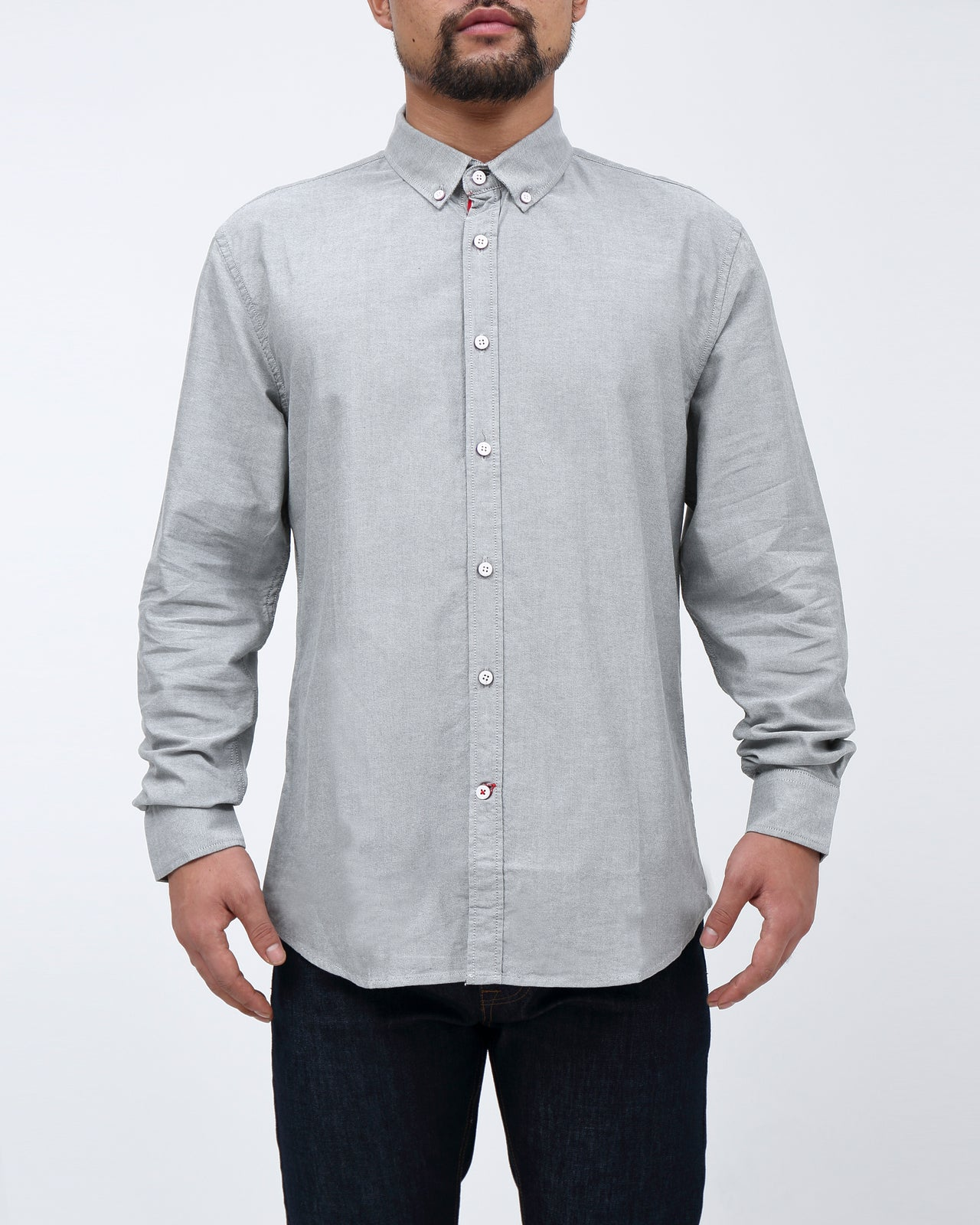 Solid Long Sleeve Shirt - Color: Gray | Gray
