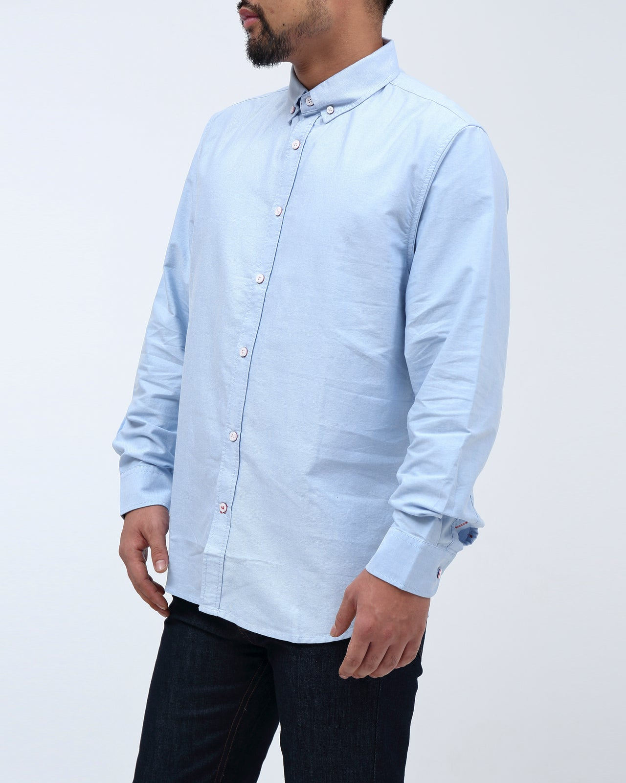Solid Long Sleeve Shirt - Color: Blue | Blue