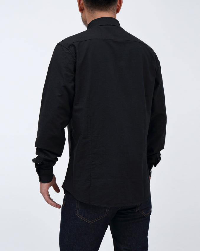 Solid Long Sleeve Shirt - Color: Black | Black