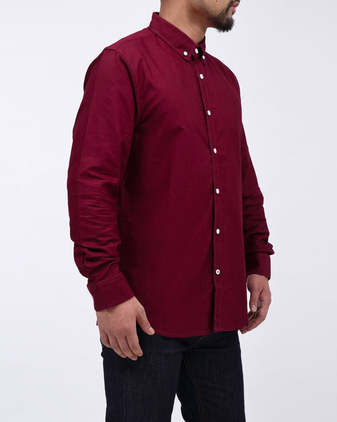 Solid Long Sleeve Shirt - Color: Burgundy | Red