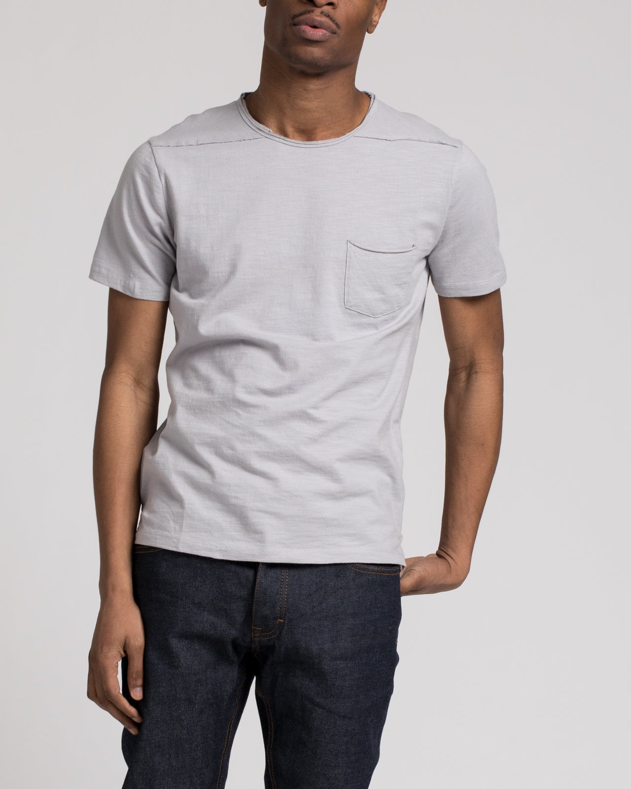 Roll Neck Tee - Color: Silver | Gray